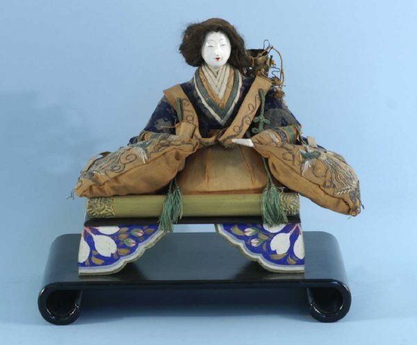 6: ANTIQUE JAPANESE DOLL ON PAINTED STAND