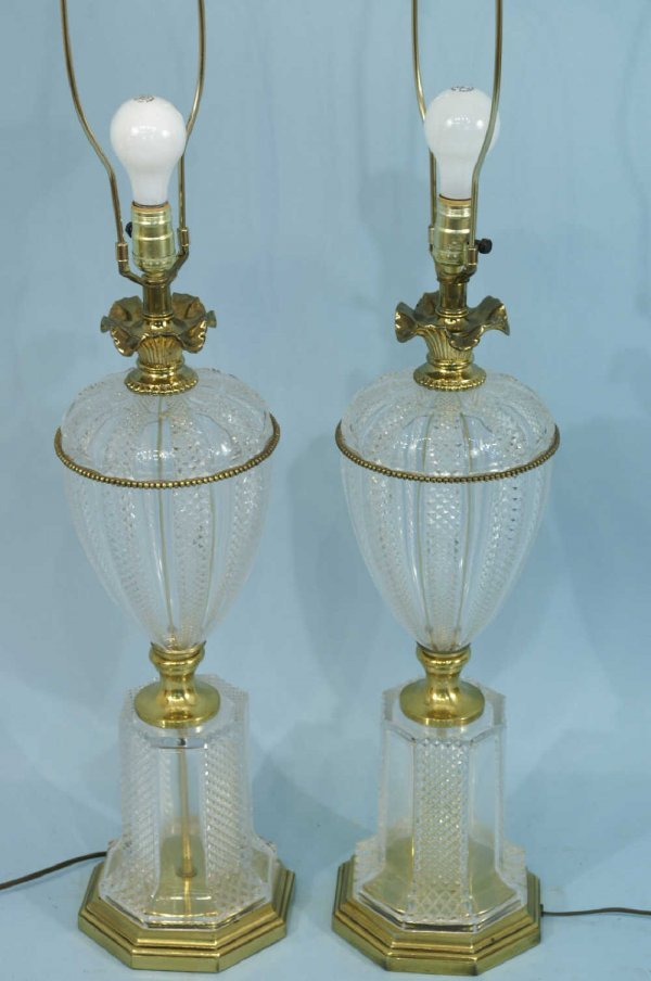 7: PAIR OF FRENCH BRASS AND CRYSTAL LAMPS