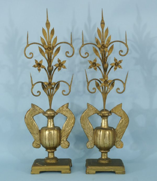 7A: PAIR OF 19th CENTURY FRENCH PRICKET CANDELABRAS