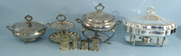 10: BOX LOT OF SILVERPLATE CHAFING DISHES