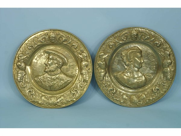 21: TWO ANTIQUE FRENCH HAMMERED BRASS PLAQUES
