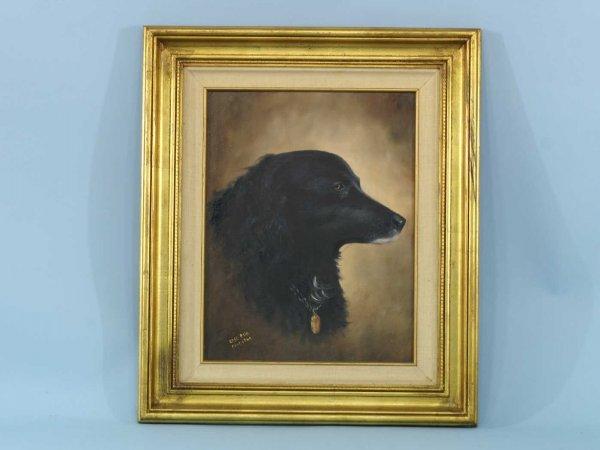 """1007: PAINTING OF BLACK DOG SIGNED """"ROSE ELLA FORSYTHE"""""""