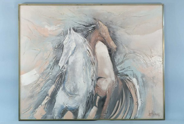 1011: FRAMED OIL ON CANVAS OF TWO HORSES