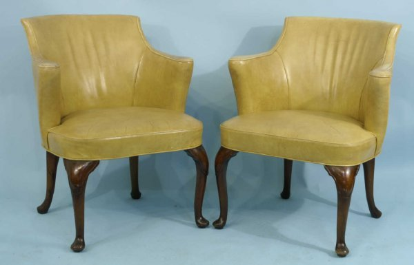 1013: PAIR OF ENGLISH MUSTARD LEATHER ARMCHAIRS