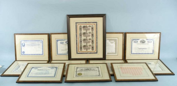 1015: 10 FRAMED AND MATTED BOND CERTIFICATES