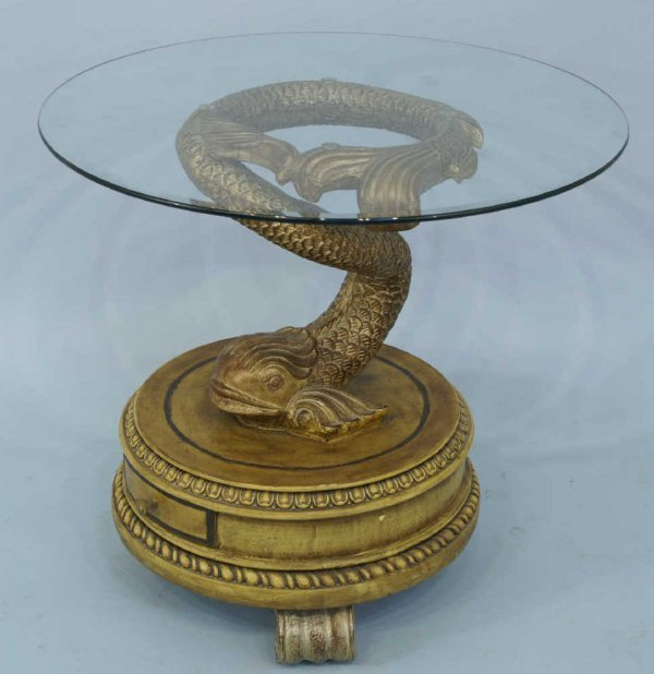 1017: UNIQUE GLASS TOP TABLE ON DOLPHIN PEDESTAL BASE