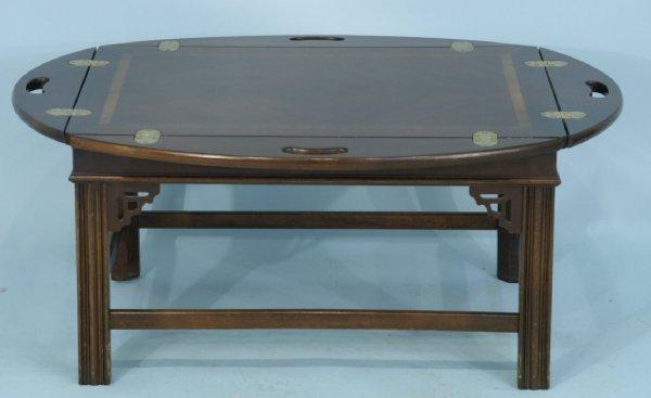 1019: MAHOGANY BUTLER'S TRAY COFFEE TABLE