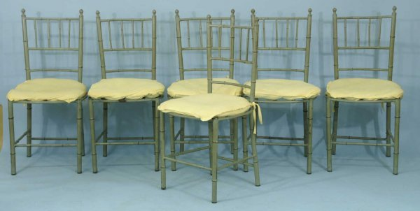 1021: SIX GREEN METAL FAUX BAMBOO SIDE CHAIRS