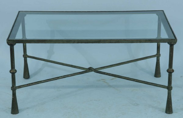 2013: IRON COFFEE TABLE WITH GLASS TOP