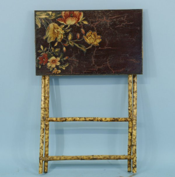 2016: LACQUER PAINTED TRAY TABLE WITH FLORAL DESIGN