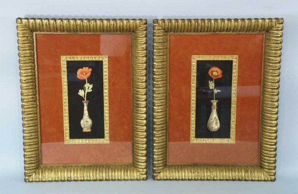 2022: PAIR OF FRAMED AND MATTED FLORAL STILL LIFES