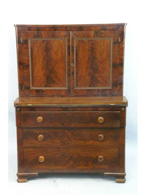 - 2114: ANTIQUE EMPIRE LAWYER'S DESK, 19th CENTURY
