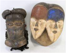 LOT OF TWO VINTAGE AFRICAN TRIVAL MASKS