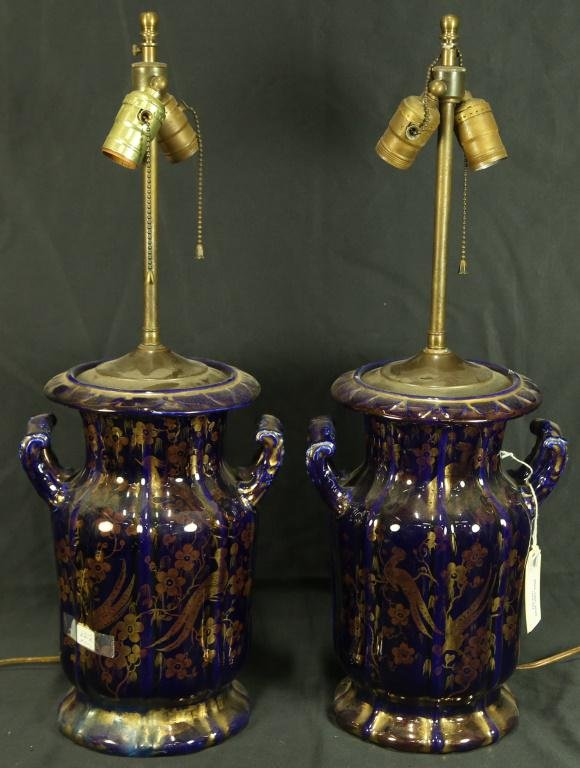 PAIR OF 19th C. MASONS IRONSTONE VASES NOW LAMPS