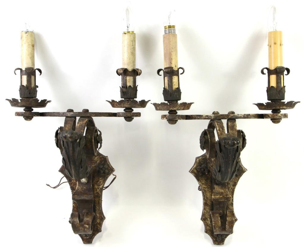 PAIR OF 2 BRONZE & IRON CANDLE WALL SCONCES