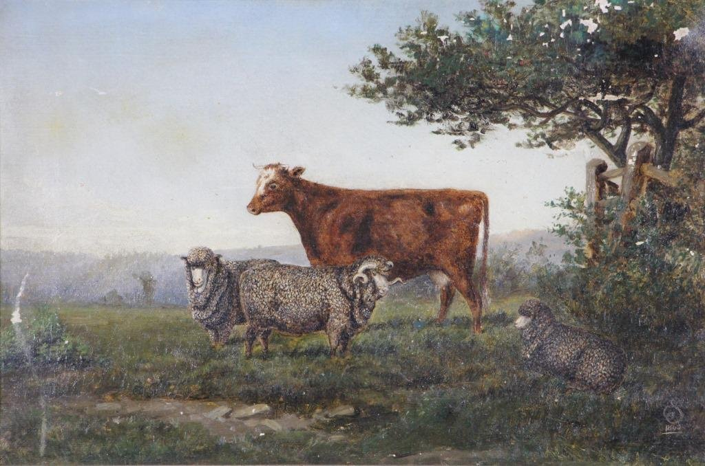 19th CENTURY PASTORAL SCENE OIL ON CANVAS PAINTING