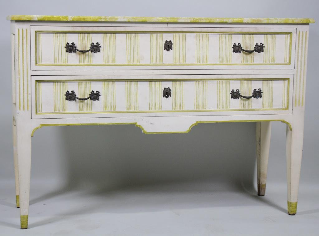 VINTAGE FAUX MARBLE TOP CONSOLE TWO DRAWER CHEST