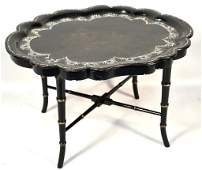 VICTORIAN LACQUERED TRAY TABLE ON FAUX BAMBOO BASE