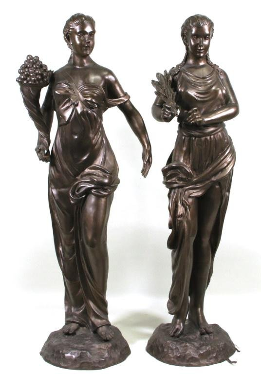 """PAIR OF 19th C. """"SPRING & FALL"""" BRONZE SCULPTURES"""