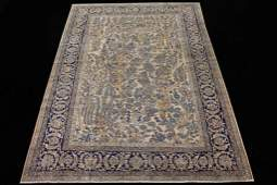 ANTIQUE HAND KNOTTED IRANIAN KERMAN WOOL RUG