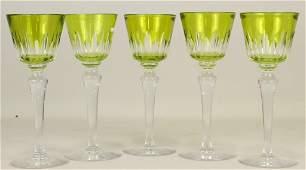 SET OF FIVE BACCARAT WINE GOBLETS