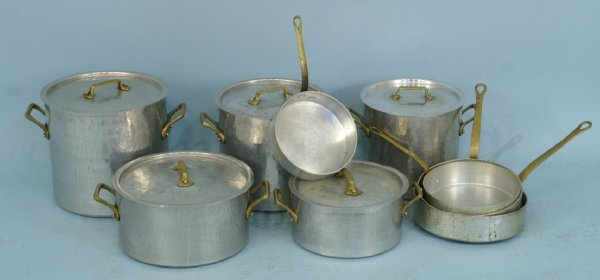 9: BOX LOT OF HAMMERED ALUMINUM POTS AND PANS