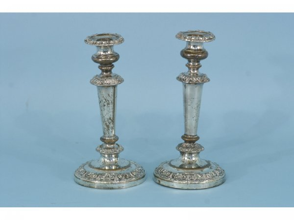 10: PAIR OF ANTIQUE SILVERPLATE CANDLESTICKS