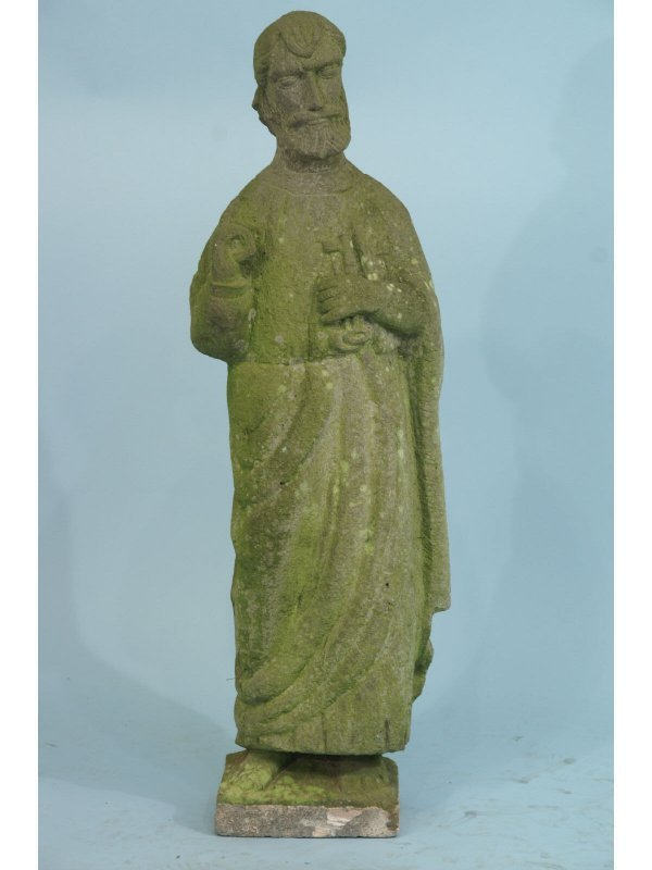22: A STONE CARVED STATUETTE OF ST. PETER