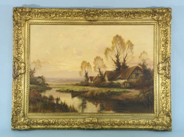 """1036: OIL OF """"AN ESSEX COTTAGE""""  SIGNED A. SPENCER"""