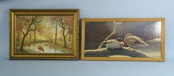 1002: LOT OF TWO FRAMED PAINTINGS