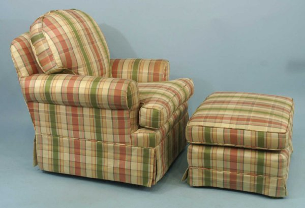 1006: A CUSTOM UPHOLSTERED PLAID CHAIR AND OTTOMAN