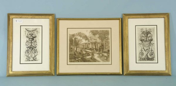 1007: PAIR OF FRAMED AND MATTED FRENCH ENGRAVING