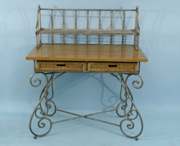 1012: COUNTRY FRENCH BUTCHER BLOCK TABLE/DESK