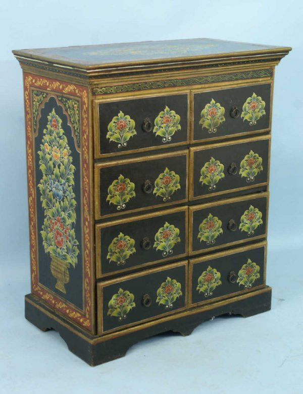 1021: PAINTED INDIAN CHEST OF DRAWERS