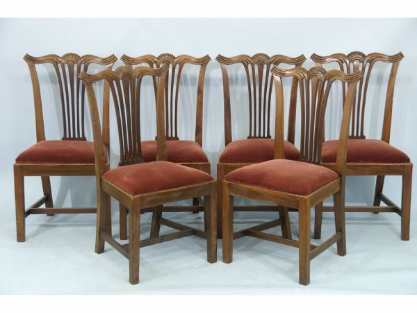 1024: SIX ANTIQUE CHIPPENDALE STYLE CHAIRS, C. 1850