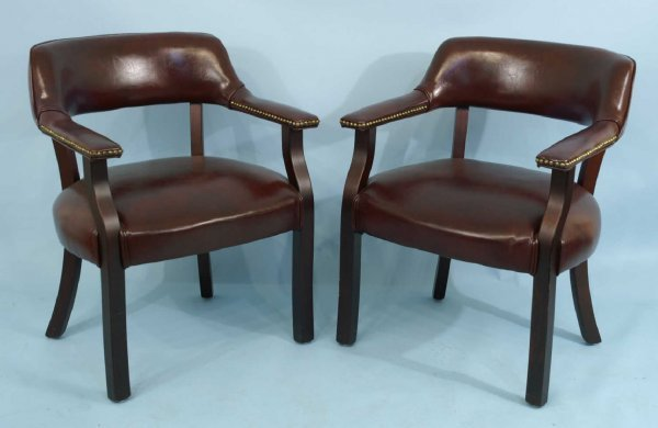 1110: SET OF 6 BURGUNDY LEATHER ARMCHAIRS