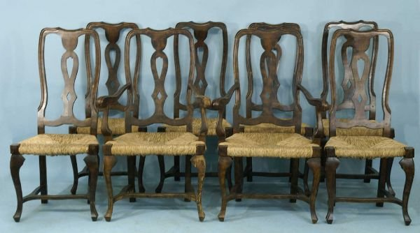 1037: SET OF 8 OAK CHAIRS WITH RUSH SEATS BY LA BARGE