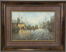 """FRAMED G. HARVEY """"OIL PATCH"""" SIGNED A/P LITHOGRAPH"""
