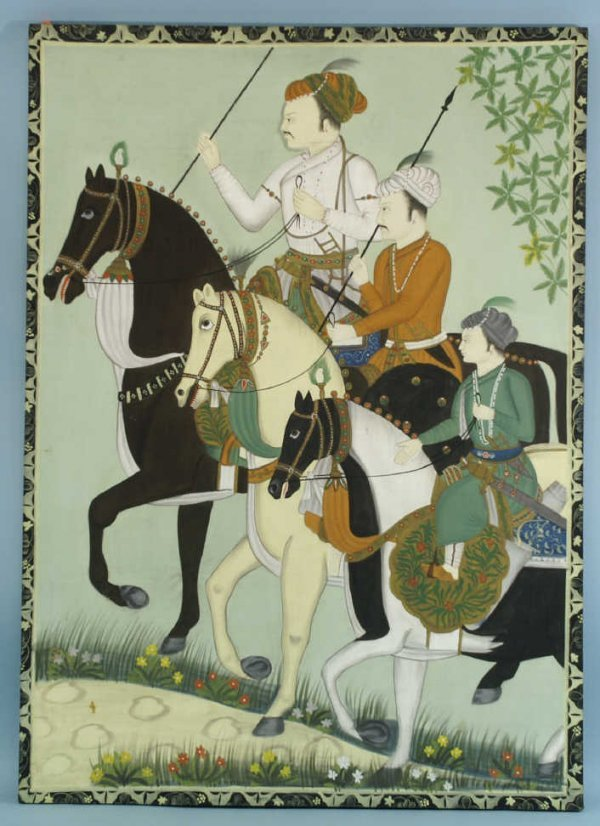1157: LARGE MOGUL OIL ON CLOTH OF MEN ON HORSES