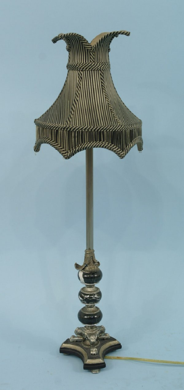 1158: BRASS AND MARBLE LAMP