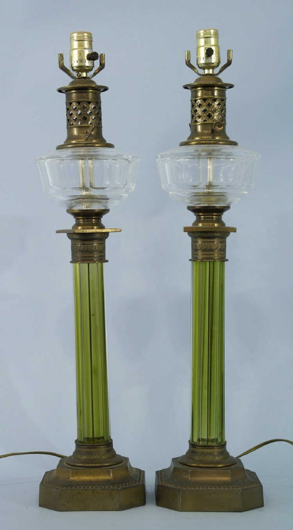 1169: PAIR OF BRASS AND EMERALD GLASS LAMPS