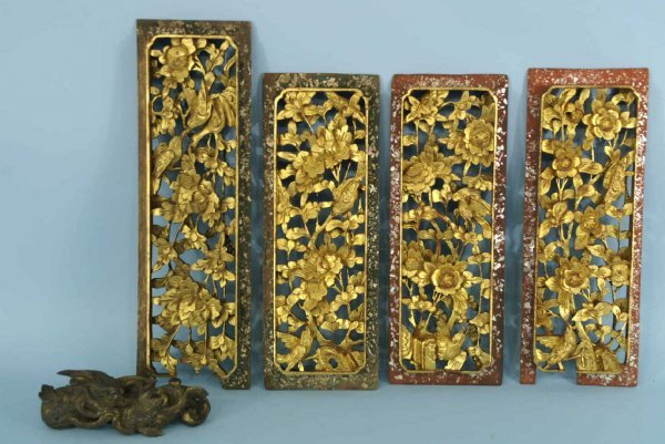 1177: FOUR SMALL WOOD CARVED PANELS AND A DRAGON