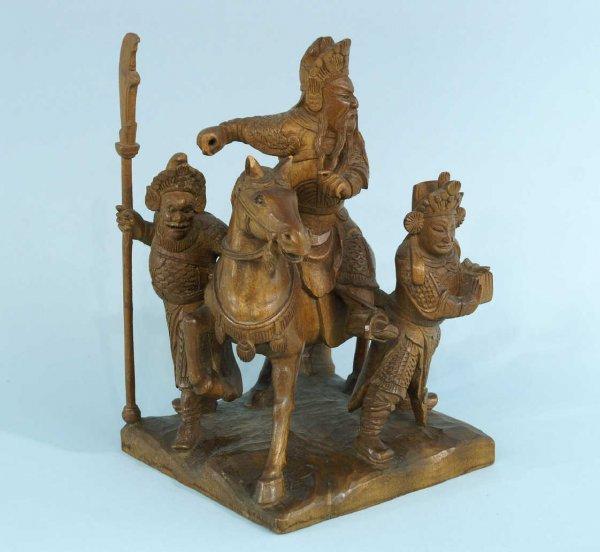1179: WOODEN CARVED EMPEROR ON HORSEBACK WITH TWO MEN