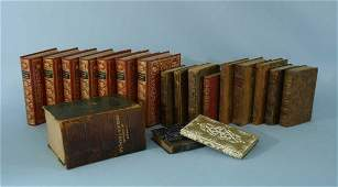 1270 BOX LOT OF ANTIQUE FRENCH LEATHER BOUND BOOKS