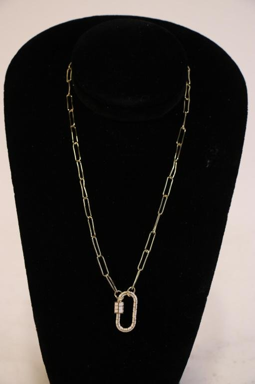 GOLD-FILLED PAPERCLIP CHAIN WHITE CARBINER PENDANT
