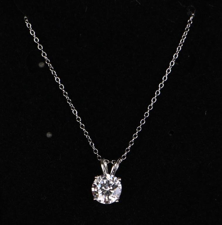 2 ct WHITE TOPAZ DINNER NECKLACE