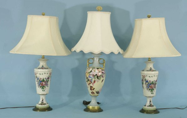 1: LOT OF THREE PORCELAIN LAMPS WITH SHADES
