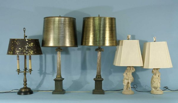 2: LOT OF CANDLESTICK, IONIC REEDED & FIGURAL LAMPS