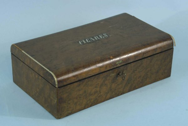 """3: ANTIQUE CIGAR BOX WITH """"CIGARS"""""""