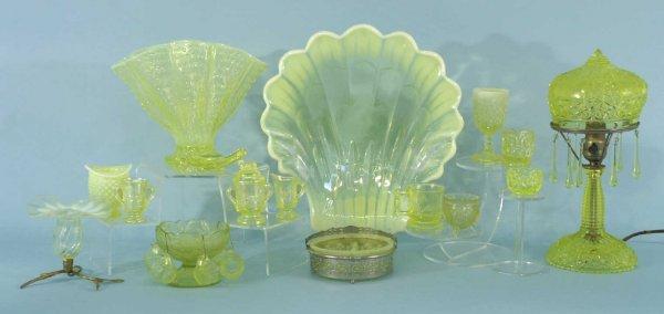 5: ASSORTED BOX LOT OF VASELINE GLASSWARE